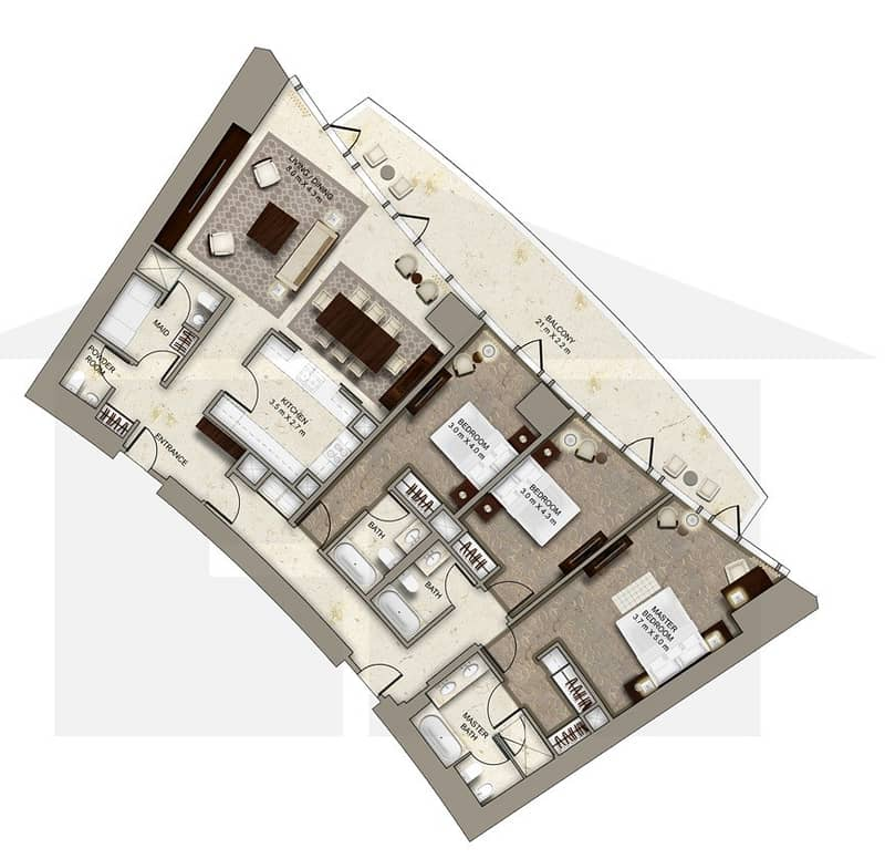 10 3 Bedroom | Center Unit | Full Burj View