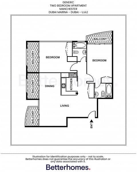 15 Two Bed|Balcony|Marina View|Higher Floor