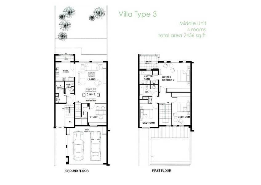 10 3 Bedrooms   Single Row   Extended Villa