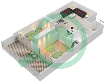 Resortz by Danube - 2 Beds Apartments unit G07 Floor plan