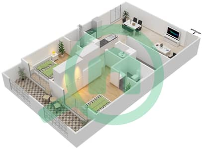 Resortz by Danube - 2 Beds Apartments unit 109 Floor plan