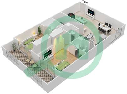 Resortz by Danube - 2 Beds Apartments unit 128 Floor plan