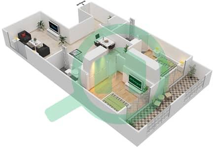 Resortz by Danube - 2 Beds Apartments unit 129 Floor plan