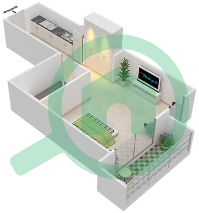 Resortz by Danube - Studio Apartments unit 132 Floor plan