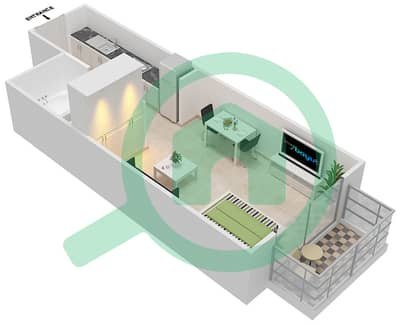 Resortz by Danube - Studio Apartments unit 207,213,217 Floor plan