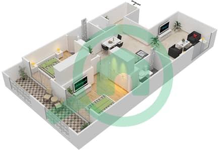 Resortz by Danube - 2 Beds Apartments unit 208 Floor plan