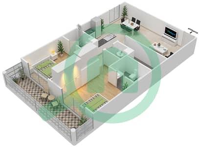 Resortz by Danube - 2 Beds Apartments unit 309 Floor plan