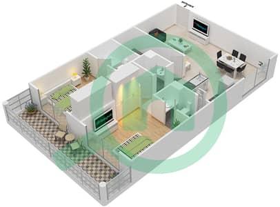 Resortz by Danube - 2 Beds Apartments unit 328 Floor plan