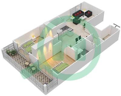 Resortz by Danube - 2 Beds Apartments unit 329 Floor plan