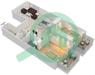 Resortz by Danube - 2 Beds Apartments unit 408 Floor plan