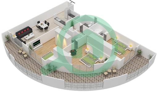 Resortz by Danube - 3 Beds Apartments unit 110 Floor plan