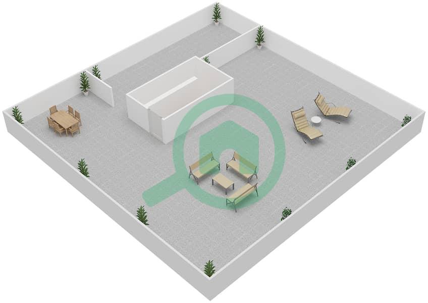 المخططات الطابقية لتصميم النموذج A فیلا 4 غرف نوم - فلل الشاطئ Roof Top image3D