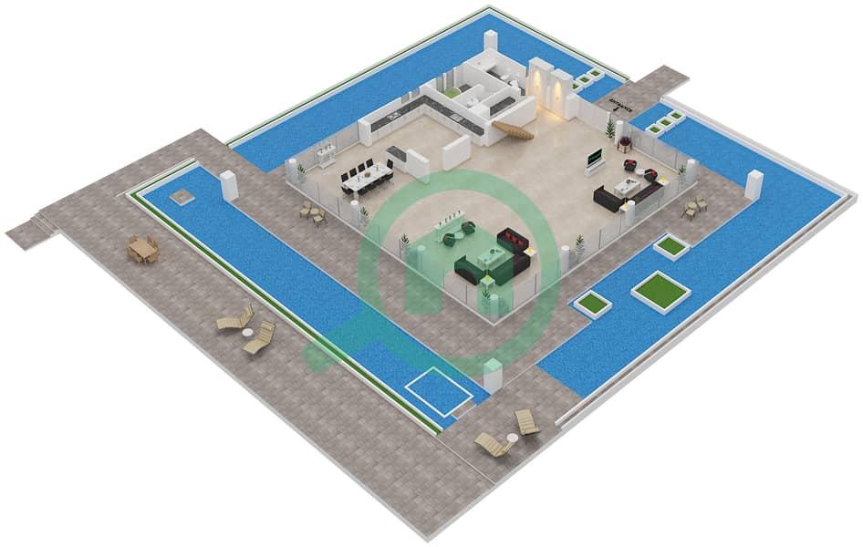 المخططات الطابقية لتصميم النموذج A فیلا 4 غرف نوم - فلل الشاطئ Ground Floor image3D