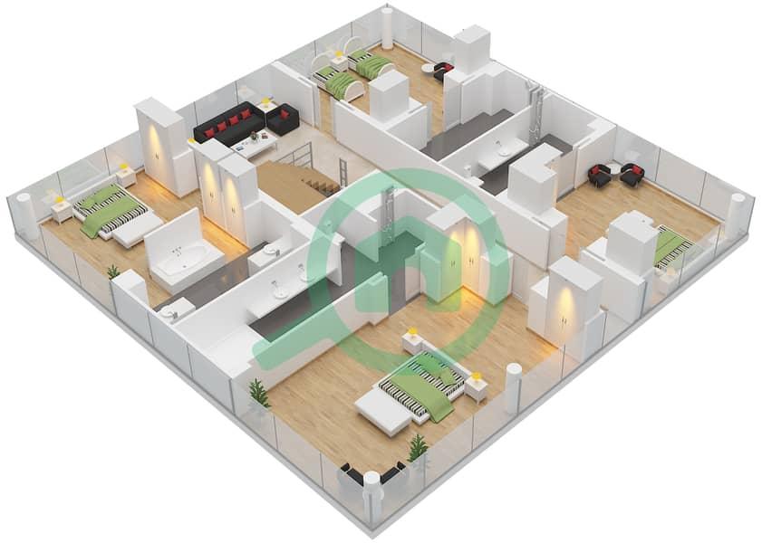 المخططات الطابقية لتصميم النموذج A فیلا 4 غرف نوم - فلل الشاطئ First Floor image3D