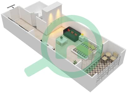Resortz by Danube - Studio Apartments unit 211,216,220 Floor plan
