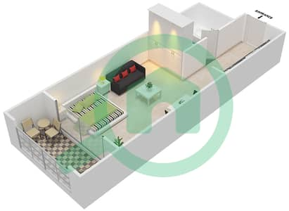 Resortz by Danube - Studio Apartments unit 212,217,221 Floor plan