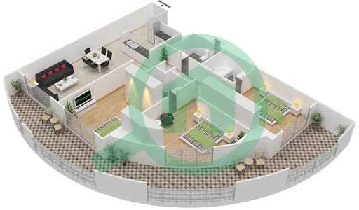 Resortz by Danube - 3 Beds Apartments unit 214 Floor plan
