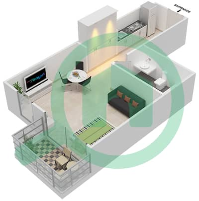 Resortz by Danube - Studio Apartments unit 225 Floor plan