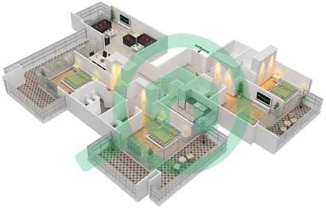 المخططات الطابقية لتصميم النموذج A شقة 4 غرف نوم - ذا ميداليست