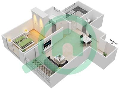 بارادايس ليك B6 - 1 غرفة شقق اكتب C1 مخطط الطابق
