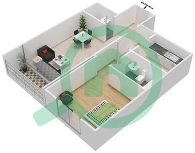 بارادايس ليك B6 - 1 غرفة شقق اكتب C2 مخطط الطابق