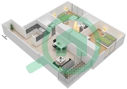 بارادايس ليك B6 - 2 غرفة شقق اكتب B1 مخطط الطابق