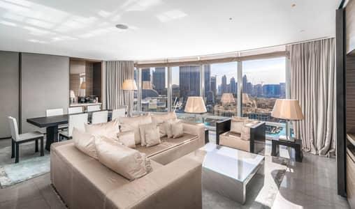شقة فندقية 2 غرفة نوم للايجار في وسط مدينة دبي، دبي - Full Fountain View|High Floor|Available Now