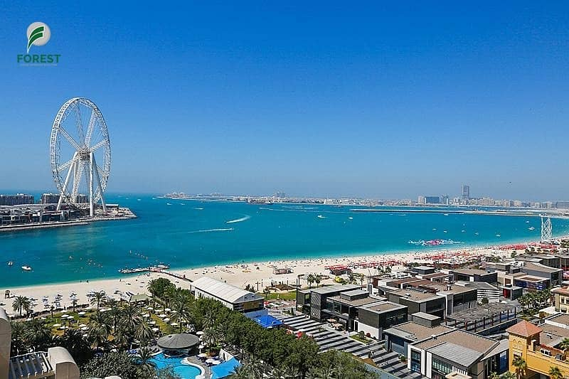 Full Sea View and Dubai Eye 1BR Vacant Unfurnished