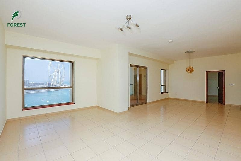 2 Full Sea View and Dubai Eye 1BR Vacant Unfurnished