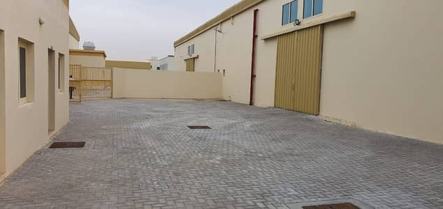 Plot for Rent in Al Saja, Sharjah - 11,500 SqFt Openland with warehouse and electricity connected tolet in Al Sajja industrial area, Sharjah