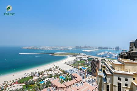 1 Bedroom Flat for Rent in Jumeirah Beach Residence (JBR), Dubai - Full Sea and Palm View on High Floor Unfurnished