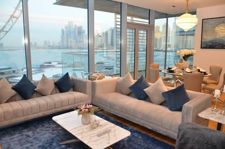 4 Bedroom Apartment for Rent in Bluewaters Island, Dubai - Living Room