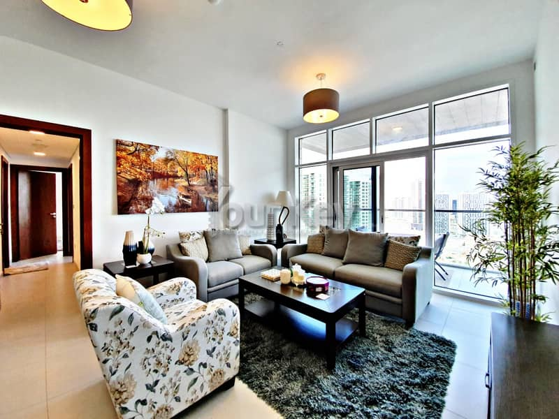 Semi-Furnished Dazzling 2BR with Maidsroom and Balcony
