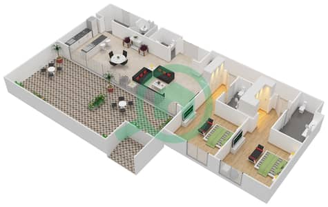 المخططات الطابقية لتصميم النموذج / الوحدة A1/G02 شقة 2 غرفة نوم - منتجع شاطئ نكي