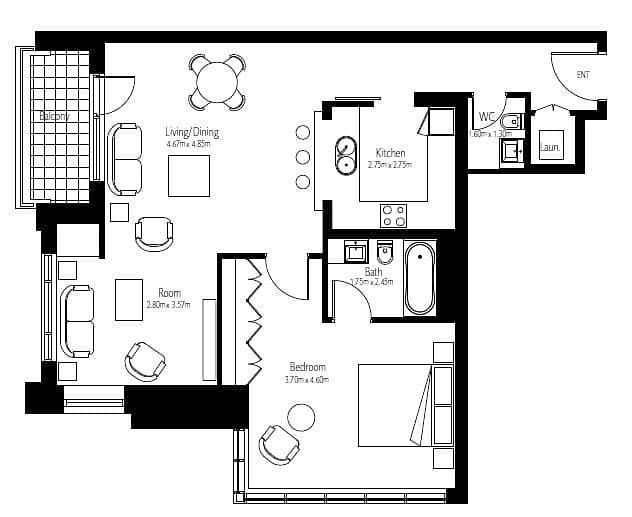 10 1 Bedroom | Largest Layout | High Floor