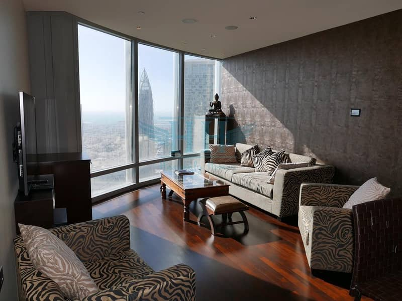2 The Iconic Burj Khalifa I  Sea View and Opera View from High Floor I Stylish Furniture