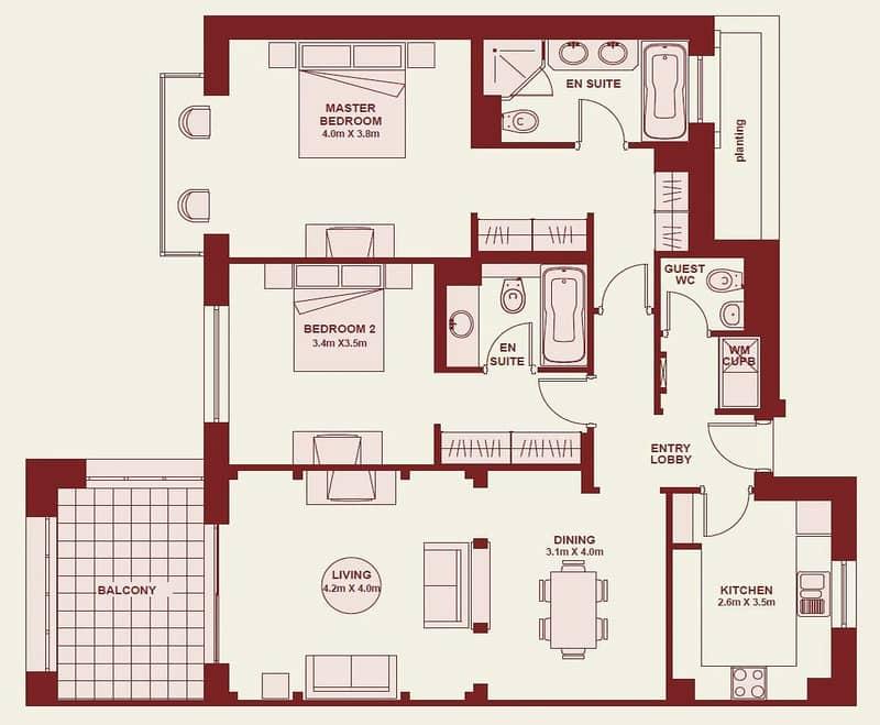 10 Vacant | 2 Bedroom | Al Tajer | 1451 SqFt <BR/><BR/>