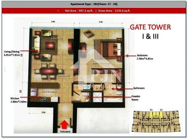 13 Vacant Soon !!! One Bedroom For Rent In Gate Tower 3