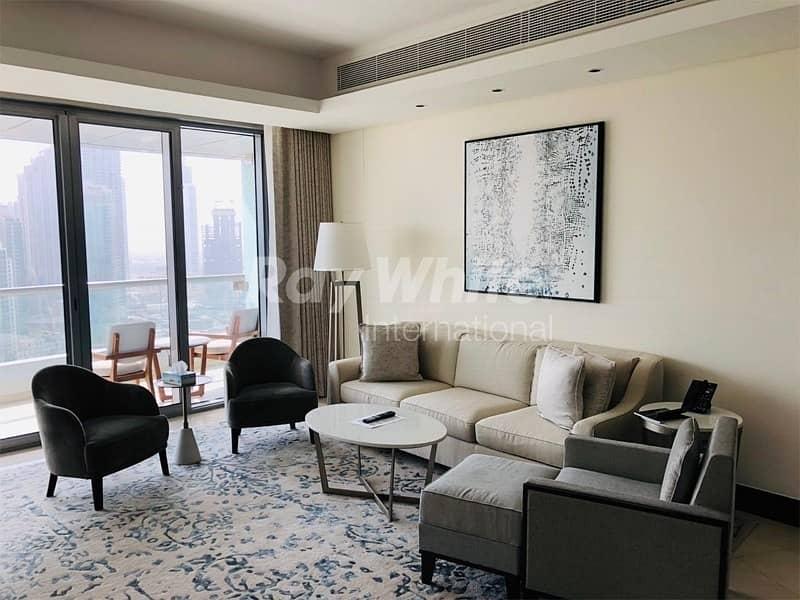 Stunning Corner Serviced Apartment w/ Burj & Fountain View