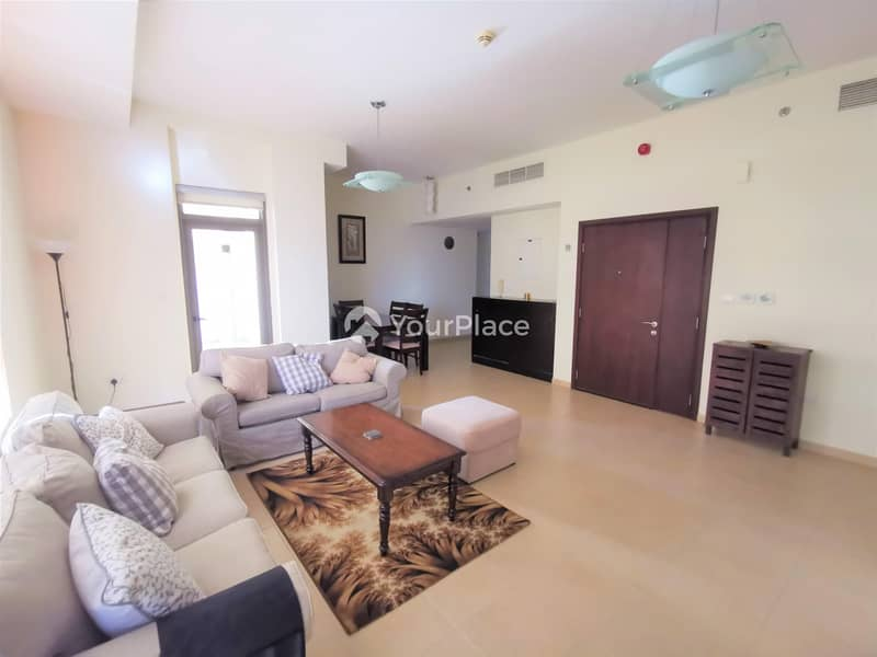 Fully Furnished 2 bedroom apartment with Marina view