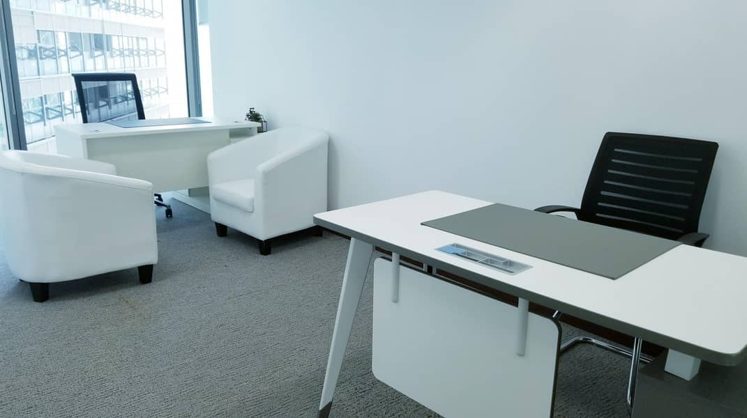 2 BRAND NEW CUSTOMIZED EXECUTIVE PRIVATE OFFICES AT BURJUMAN BUSINESS TOWER PRESTEGIOUSE LOCATION LINKED WITH MALL & METRO