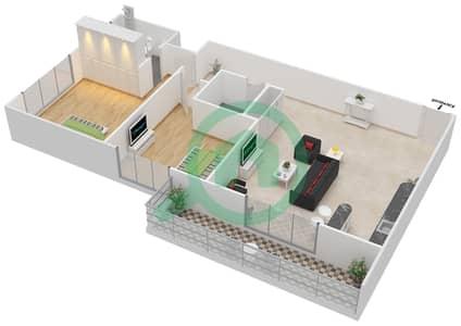المخططات الطابقية لتصميم التصميم C شقة 2 غرفة نوم - جوفاني بوتيك سويتس