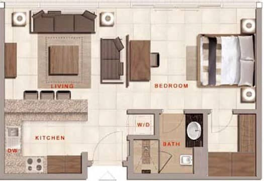 10 Studio Apartment | 665 Sq. Ft. | Furnished