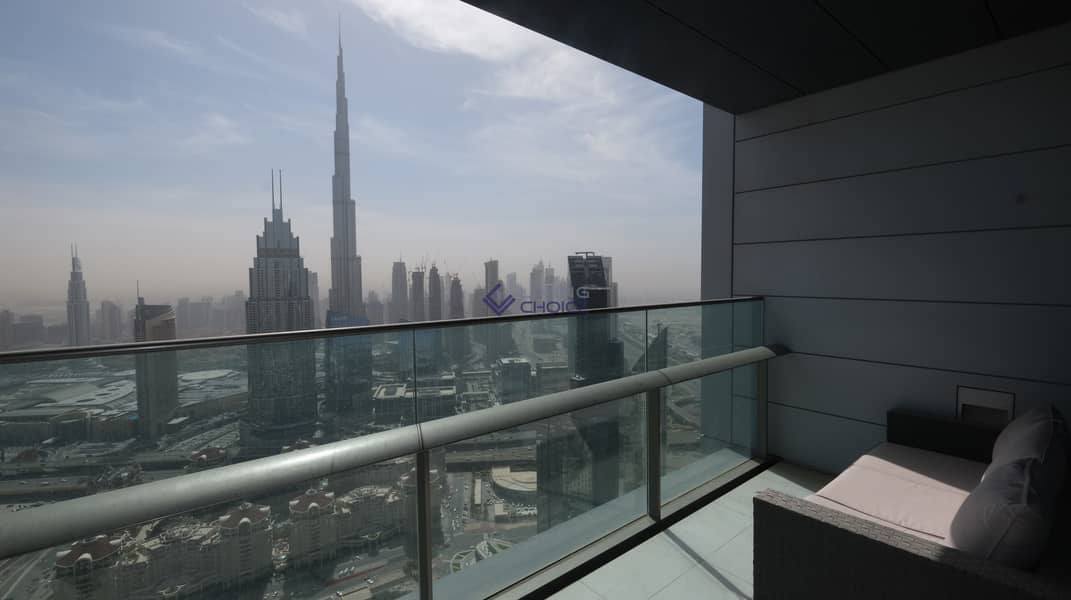 Unfurnished 2BR | Burj Khalifa View | 2 Balconies