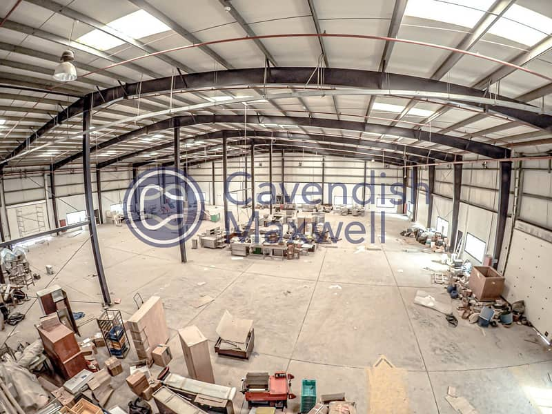 10 8m Height | Warehouse with Office on Sizable Plot