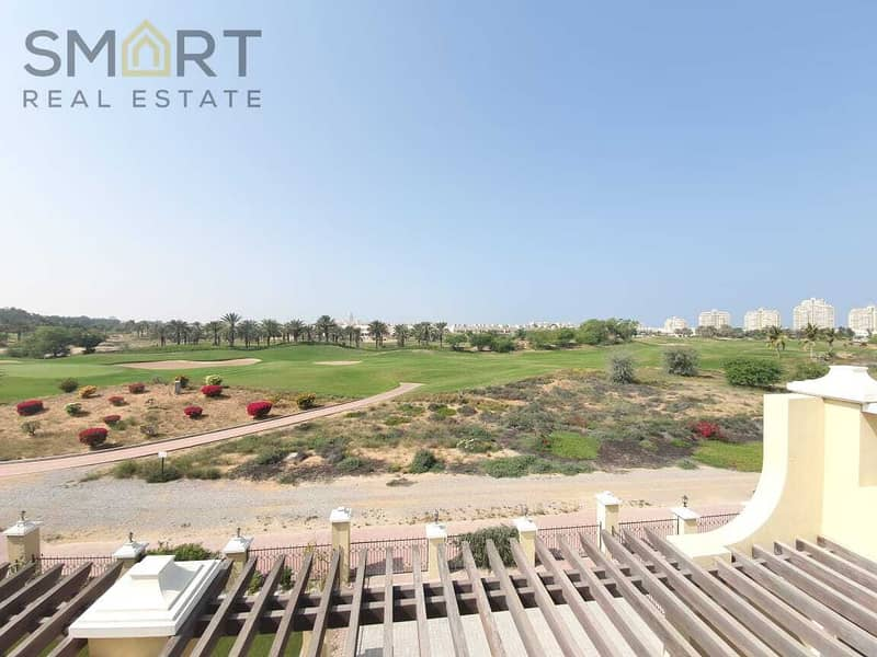 Beautiful golf course 4BR  villa is located in Al Hamra Village  for rent.