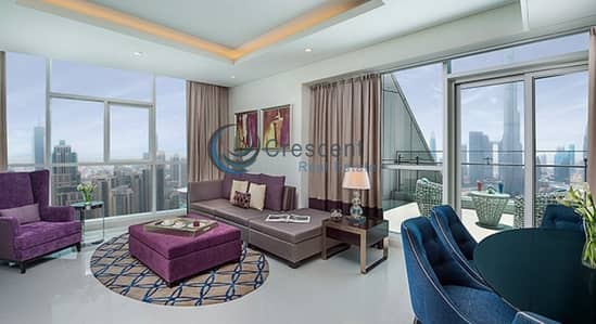 2 Bedroom Flat for Rent in Downtown Dubai, Dubai - Enticing Burj Khalifa View Furnished High Floor