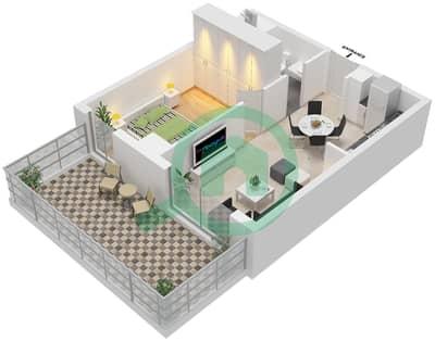 المخططات الطابقية لتصميم النموذج 1B-1 شقة 1 غرفة نوم - الراحة لوفتس