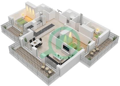 المخططات الطابقية لتصميم النموذج 3B-1 شقة 3 غرف نوم - الراحة لوفتس