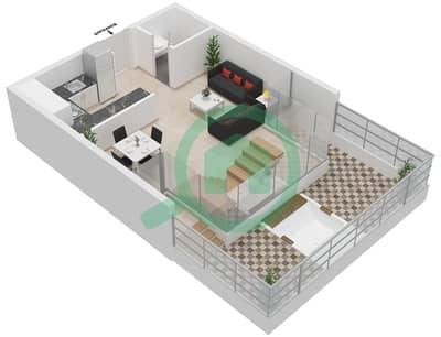 المخططات الطابقية لتصميم النموذج 1B-A شقة 2 غرفة نوم - الراحة لوفتس